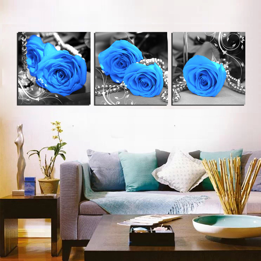 Unframed Flower Pictures Wall Decor Blue Rose Blue Brown
