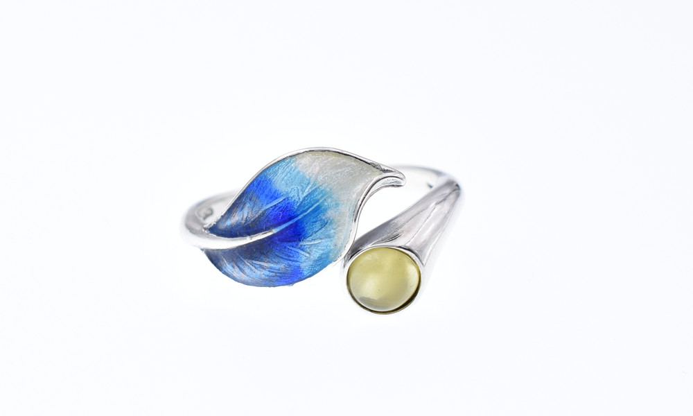 Tri-Angel 925 Sterling Silver Rings Yellow Chalcedony Adjustable Rings for Women Cloisonne Enamel Bluing Craft RH080
