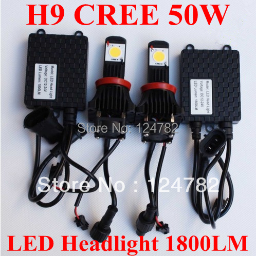 2X1800LM H9 50W Cree LED HeadLight Kits Car/Truck high or low beams auto head Free Shipping