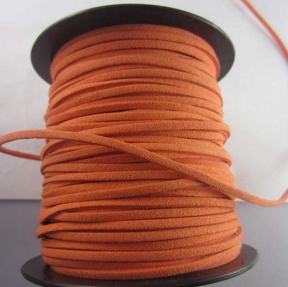 Orange Fashion Faux Suede Velvet Cord Fit Bracelet /Beading/ /Thread /Cord 50yards 2mm DIY Jewelry Making Free Shipping Z2992(China (Mainland))