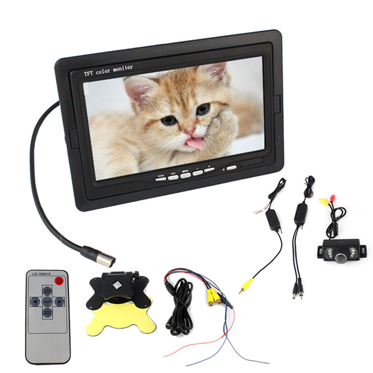 7 inch Car LCD Monitor+Wireless Night Vision Reverse Car Rear View Backup Camera Kit Nice Choice SPC-4635(China (Mainland))