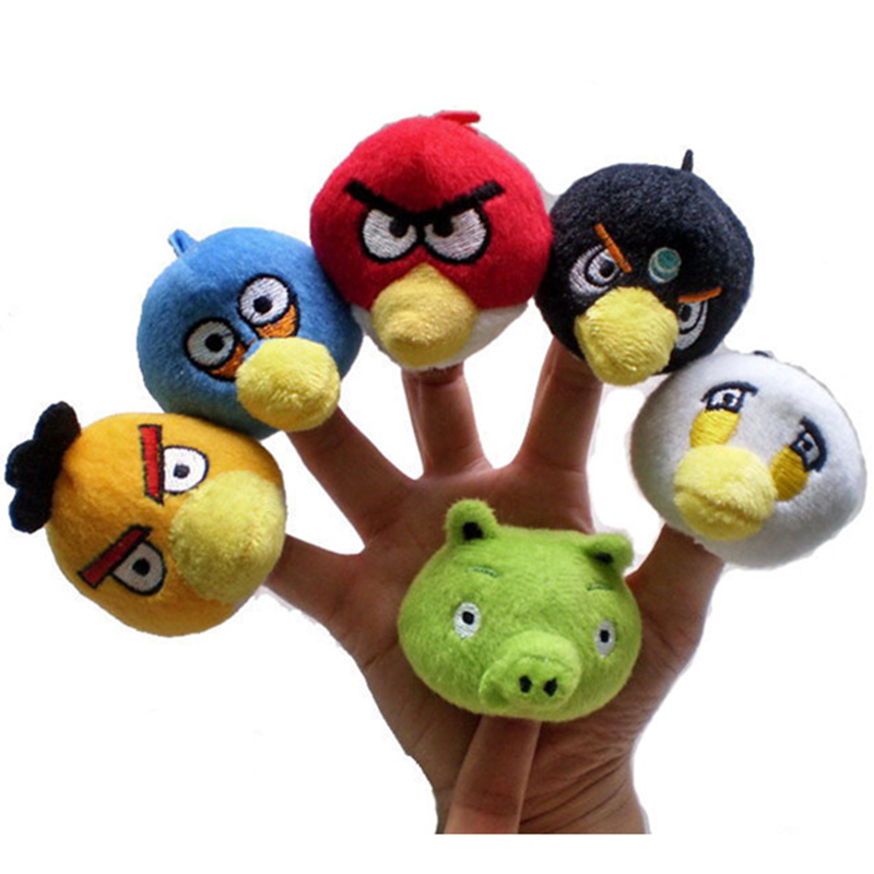 6pcs/lot Animal Red Yellow Green Birds Pig Colorful Finger Puppets Play Game Montessori Educational Tell Story Toys(China (Mainland))