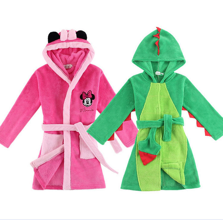 2015new arrivel children fannel bathrobe soft robe hooded fit boys and girls(China (Mainland))