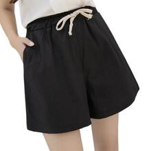 กางเกงขาสั้นผู้หญิง2016ผู้หญิงกางเกงขาสั้นฤดูร้อนสไตล์ร้อนผ้าลินินหลวมสบายๆบางกลางสีดำสีขาวขนาดบวกS-3XLสั้นfeminino