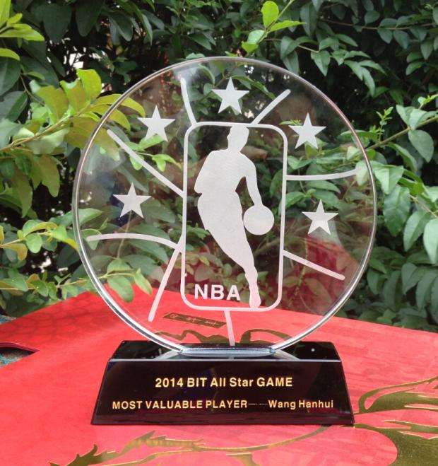 TOP COOL--custom-made yourself NBA basketball MVP crystal trophy CUP--BEST business gifts birthday present(China (Mainland))