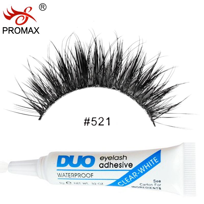 PROMAX 521 False Eyelashes 3 Pairs Handmade Natural Long Black Winged Japanese Fake Eye Lashes With 1 PCS DUO Eyelash Glue(China (Mainland))