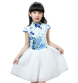 2016 Chines Style Girl Kids Dress Blue and White Embroidery Plum Cute Girls Knee Length Dress