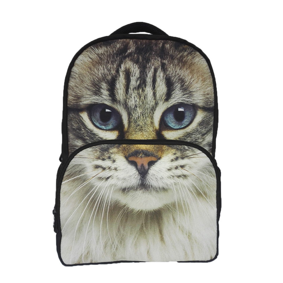 2016 New Women Fashion BackBag Oxford Large 3D Cat Animal Printing Backpack Casual Girls Schoolbags for Children Mochila Unisex(China (Mainland))