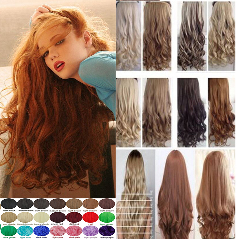 Long Synthetic Hair Clip In Hair Extensions Curly Hairpiece 5 Clips Hair Styish 1pcs Black Brown Blonde Colorful Hair T31(China (Mainland))