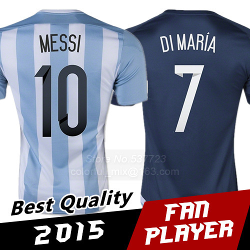 2015 Argentina Jerseys DI MARIA Top Thai Quality Argentina MESSI Soccer Jerseys Survetement Football Shirts futbol uniforms(China (Mainland))