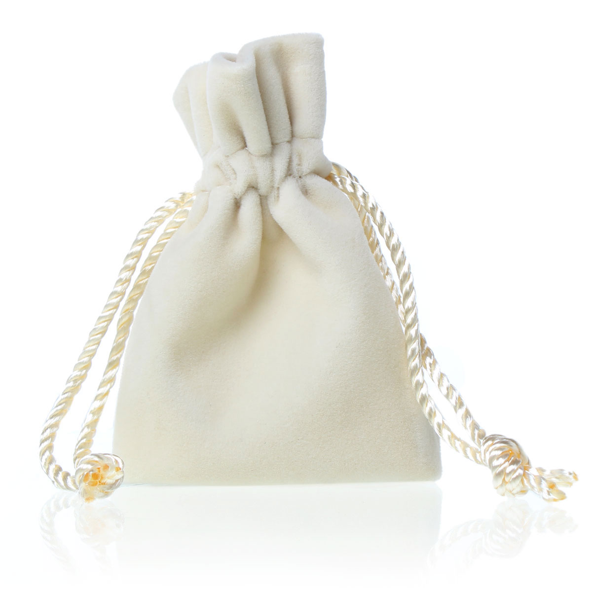 "Velveteen Velvet Pouch Jewelry/Gift Bags Rectangle Ivory With Drawstring 120mm x76mm(4 6/8"" x3""),2 PCs 2015 new(China (Mainland))"