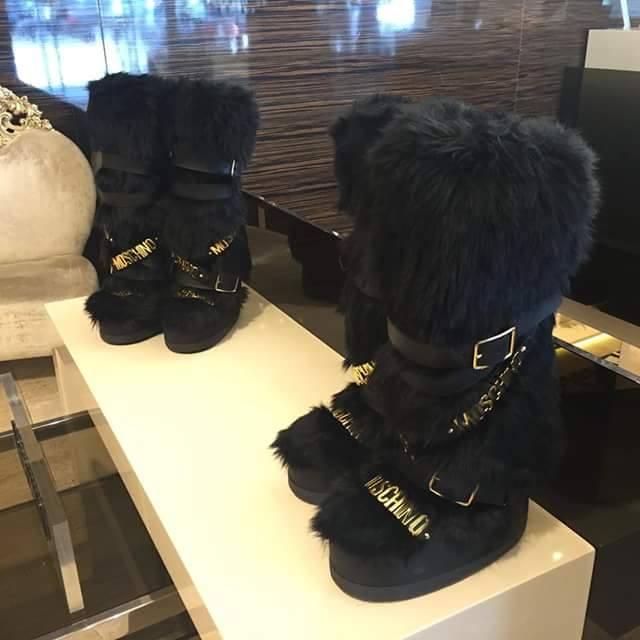 Women black winter Real rabbit fur boots mental belt mid calf snow boots luxury moon boots