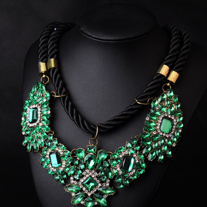 2014 Newest Big Brand Choker Statement Necklace Handmade Weave Chunky Green Crystal Necklaces & Pendants Women - witcher Store store