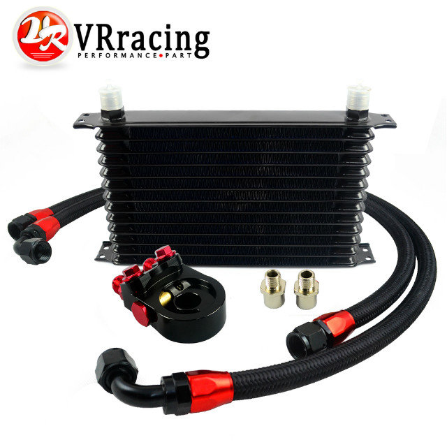 VR-Universal 13 ROWS Trust type OIL COOLER +AN10 Oil Sandwich Plate Adapter with Thermostat +2PCS NYLON BRAIDED HOSE LINE BLACK