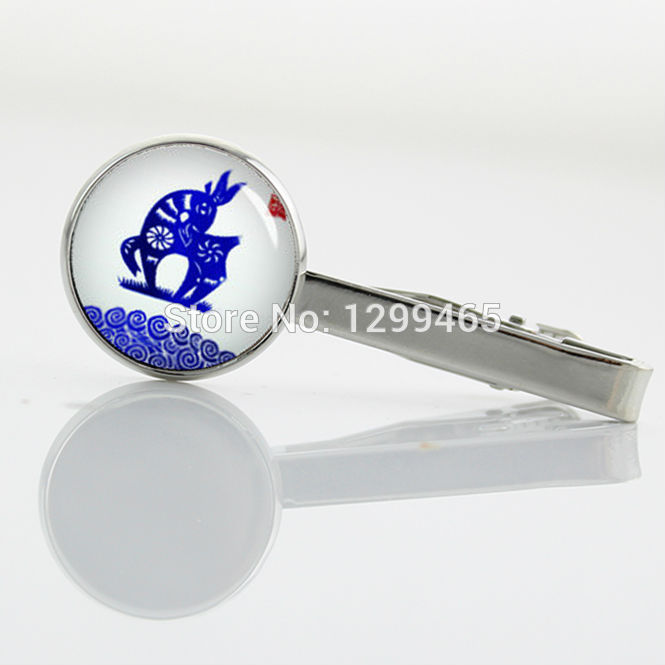 Chinese zodiac tie tacks Character Blue and white porcelain shuang xi Tie Clip Fashion Man's Classic simple tie pin T 796(China (Mainland))