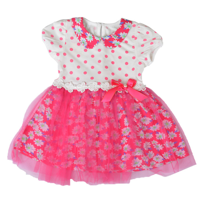Free Shipping Kids Summer Dress Polka Dot Pattern With Silk Ribbon Girls Cute Small Suihua Dress A2009(China (Mainland))