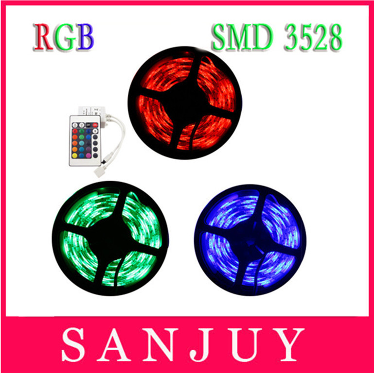 Free shipping 5M/roll 60led/M led rgb strips smd 3528 DC12V safe led bar light plus 24key IR remote controller with DC wire(China (Mainland))