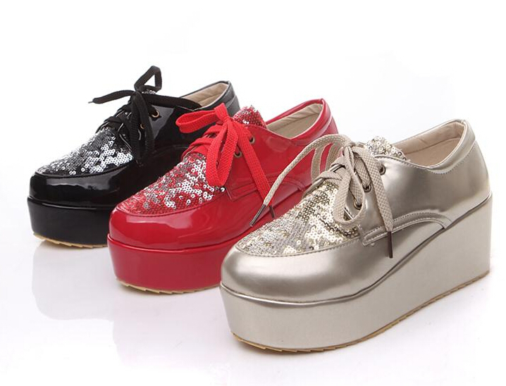 2015 Fashion Style Paillette Cloth Lace Up Platform Shoes For Women Low-Top Casual High Heel Platform Wedge Shoes Plus Size 43(China (Mainland))