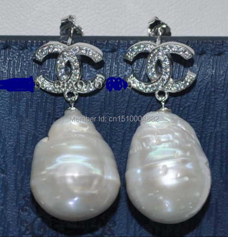 shitou 00156 Baroque 16mm Huge Cultured pearl Earring free shipping<br><br>Aliexpress