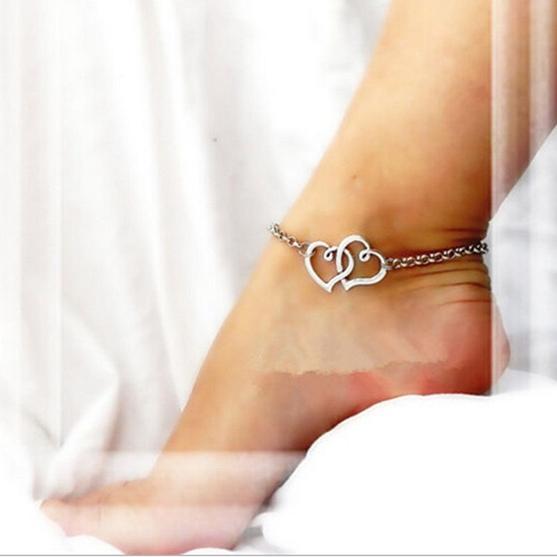 2015 Hot!!Double Heart Sexy Women Fashion Beach Sandal Ankle Jewelry Anklet For Women VC441 P(China (Mainland))