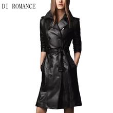 DI ROMANCE brand  European big new winter Slim Long double-breasted women's sheepskin coat womens PU long windbreaker women /273(China (Mainland))