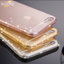 KISSCASE Full Bling Diamond Frame+Slim Clear Back Case Cover For iPhone 7 6S For iPhone 7 Plus 6S 6 Plus Phone Cover Accessories(China (Mainland))