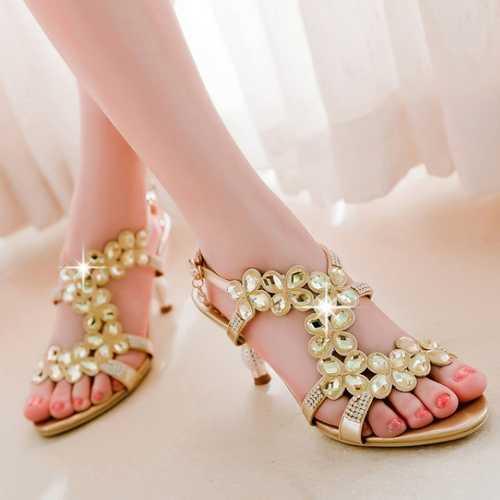 Royal Blue Gold Sandals Fashion Pop Glitter Big Rhinestone Peep Toe Slippers Summer Sexy Thin High Heels Sandals Laies Shoes(China (Mainland))