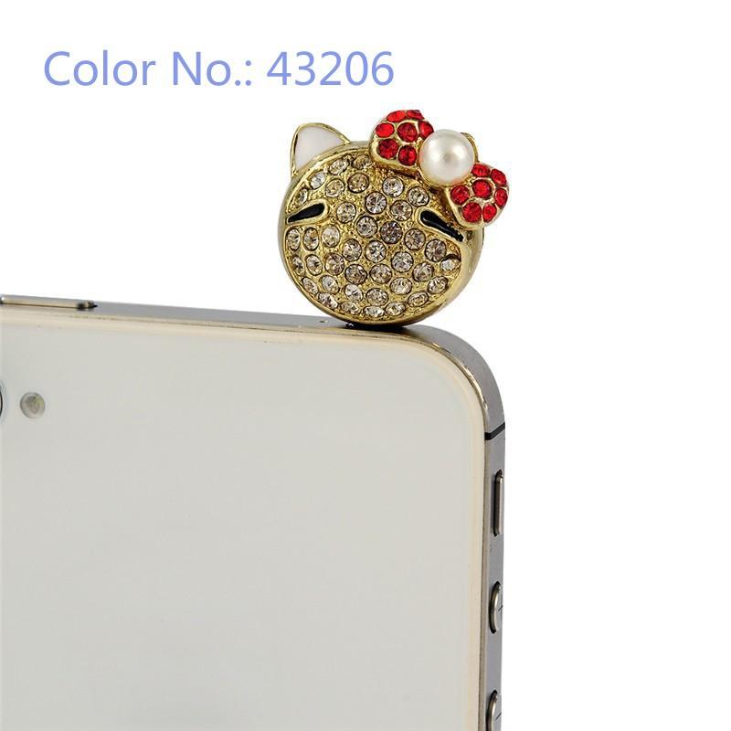 8 Cute Phone Accessories Diamond Rhinestone Dustproof Anti Dust Plug 3.5mm Headphone Earphone Jack Plug for iPhone Samsung HTC