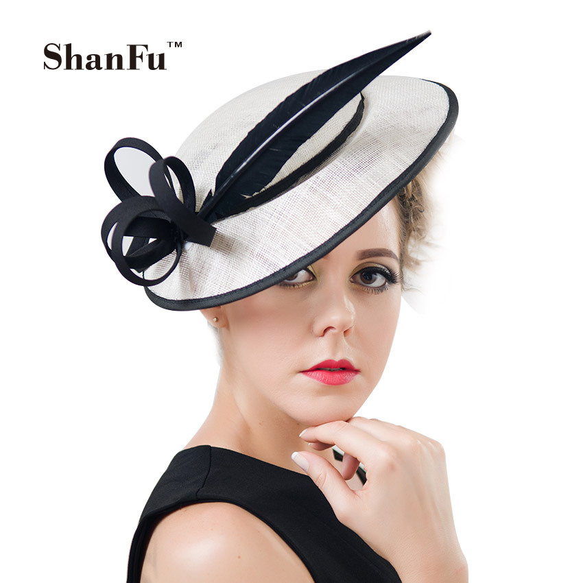 ShanFu Women's Hats and Fascinators Vintage Sinamay Sagittate Feather Fascinator with Headband tocados sombreros bodas SFC12500(China (Mainland))