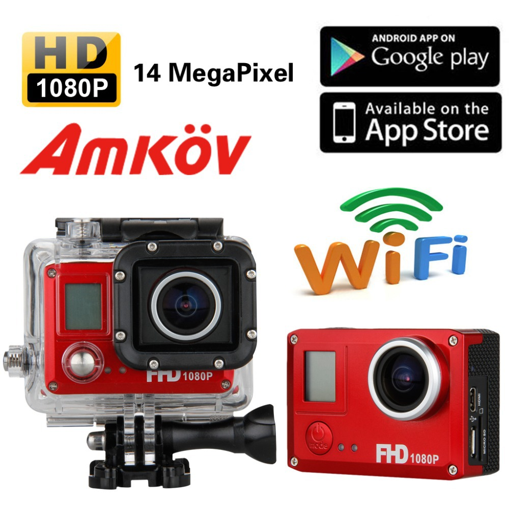 NEW Sport Camera DVR Waterproof 14MP Full HD 1080P WiFi Video Recorder Helmet Car AMK5000 DV Red(China (Mainland))