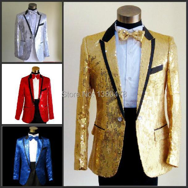 2015 New Sequins men's show suits wedding groom groomsman evening party host dress black edge 5 colors ( jacket+pant+girdle+tie)(China (Mainland))