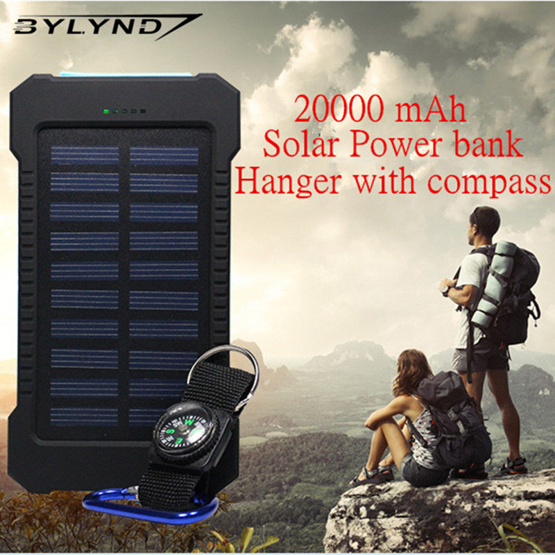 BYLYND 20000mAh Dual USB Waterproof Solar power bank Shockproof Solar Battery Charger Power energy sun external battery(China (Mainland))