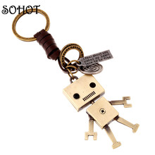 SOHOT Creative Design Cartoon Robot Keychain Handbags Pendant Genuine Leather Key Chains Key Ring Holder Key Accessories Gifts(China (Mainland))