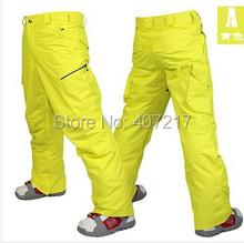 2014 мужская желтый лыжные брюки синий спорт брюки для мужчин зеленые спортивные штаны снега черный водонепроницаемый 10 К ветрозащитный бесплатная доставка