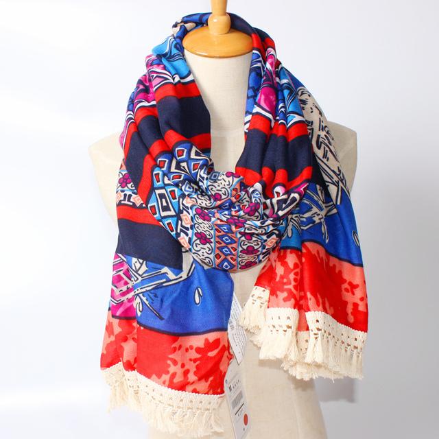2016 новое поступление зима мода женщин национальный богемия стиль пэчворк красивые кисти длинный шарф шали