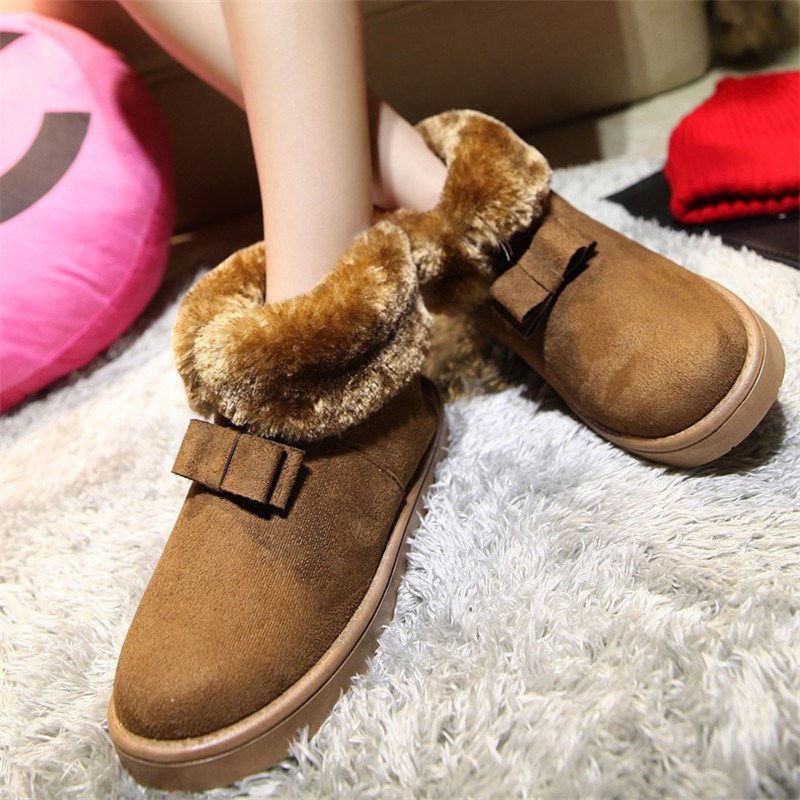 Winter Snow Boots Large Wool Artificial Suede Women Warm Foot Ankle Boot Shoes Autumn Fashion Slip-On Bow Super Soft Slip Shoe(China (Mainland))