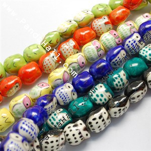 Handmade Porcelain Beads, Famille Rose Porcelain, Owl, Mixed Color, 17x15x13mm, Hole: 3mm<br><br>Aliexpress