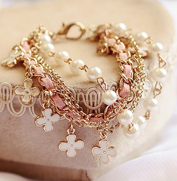 S028 Hot selling Europe/USA popular jewelry clover alloy leather rope multilayer bracelets & bangles(China (Mainland))