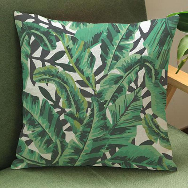Factory Direct Supply Tropical Green Plants Printing Short Soft Plush Throw Pillows Home Bedside Chair Seat Back Cushion(China (Mainland))