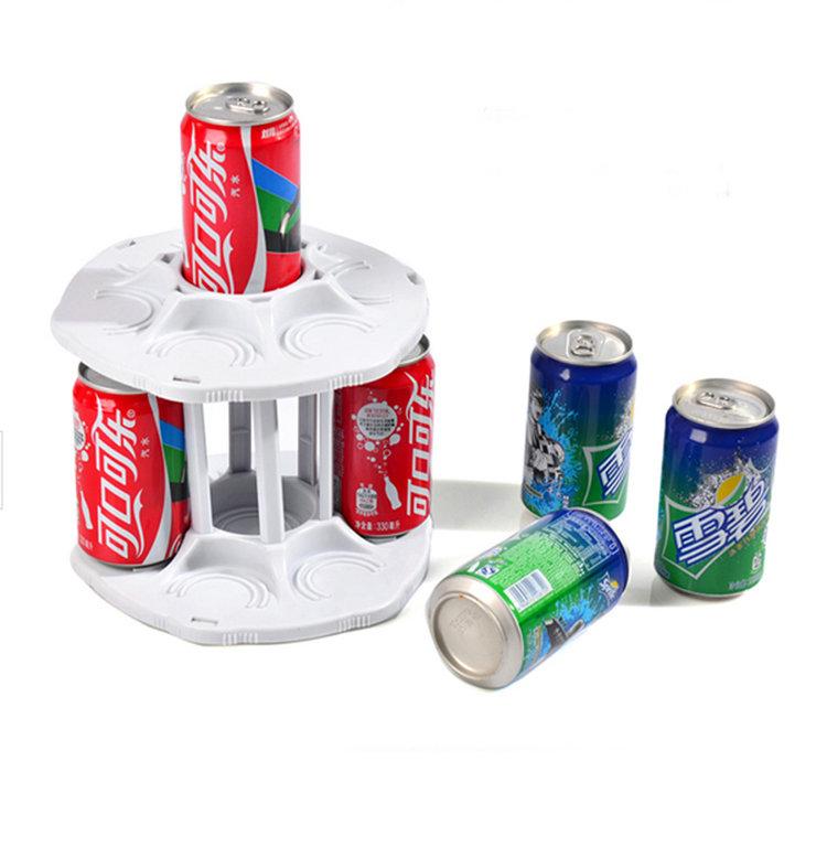 Hot Sale Spining Coke Holder 2 Tiers Rotating Coke Can Rack Kitchen Organizer Bottle Shelf Cabinet(China (Mainland))