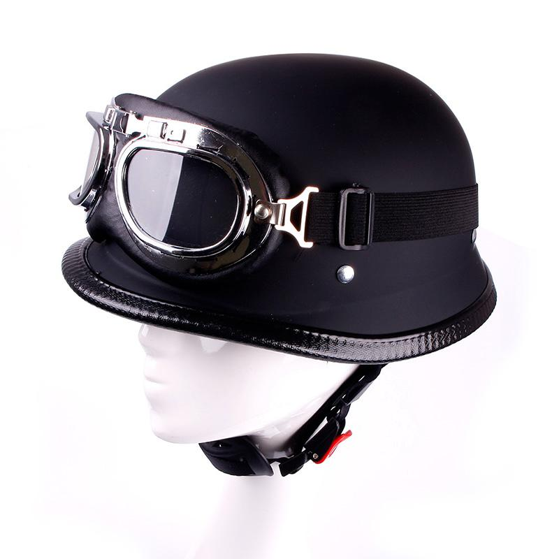 Fashion Style WWII German Motorcycle Half Helmet Chopper Biker Pilot Goggles #67745(China (Mainland))