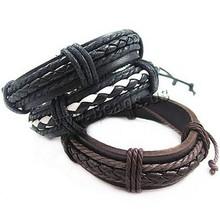 Wholesale new fashion fine jewelry men Genuine leather Bracelets classic simple design male Bracelet party accessories(China (Mainland))