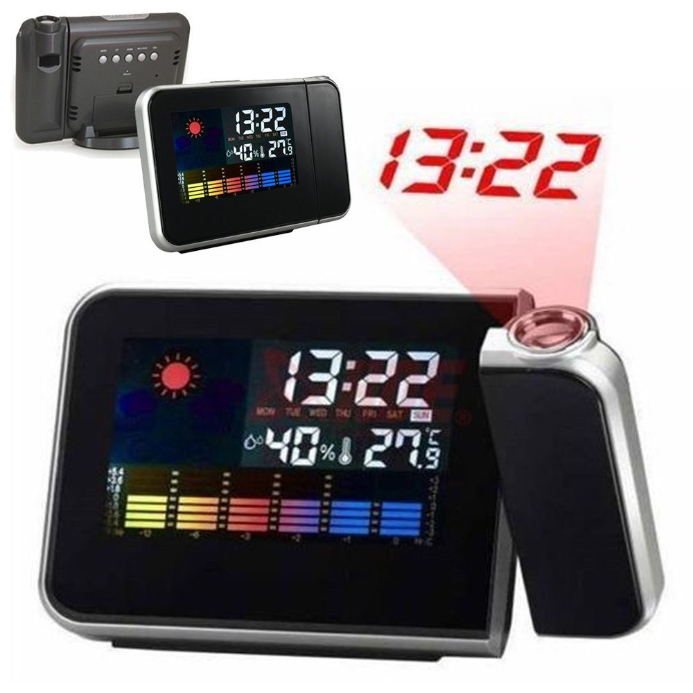 Projection Digital Bedside Desk Clock Weather LCD Snooze Alarm Clock Projector Color Display LED Backlight Weather C1SY0024-60(China (Mainland))