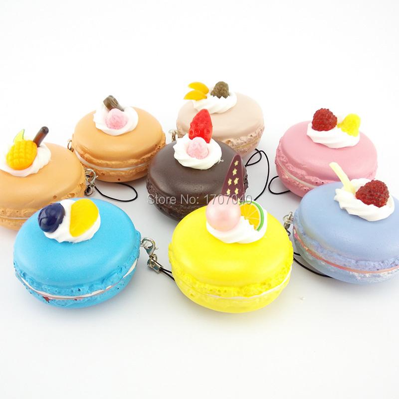 Kawaii Fruit Macaroon Squishy Cute Cell phone Soft Food Charms Key Chain Straps(China (Mainland))