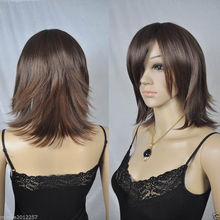 Hot heat resistant Party hair>>>>>>charming Fashion wig New Women's Short Medium Brown Straight Natural Hair wigs(China (Mainland))