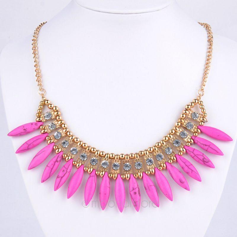 2015 Spring Fashion Crystal Rhinestone Necklace Women Boho Collar Choker Turquoise Teeth Necklaces & Pendants Y50*MHM629#M5(China (Mainland))