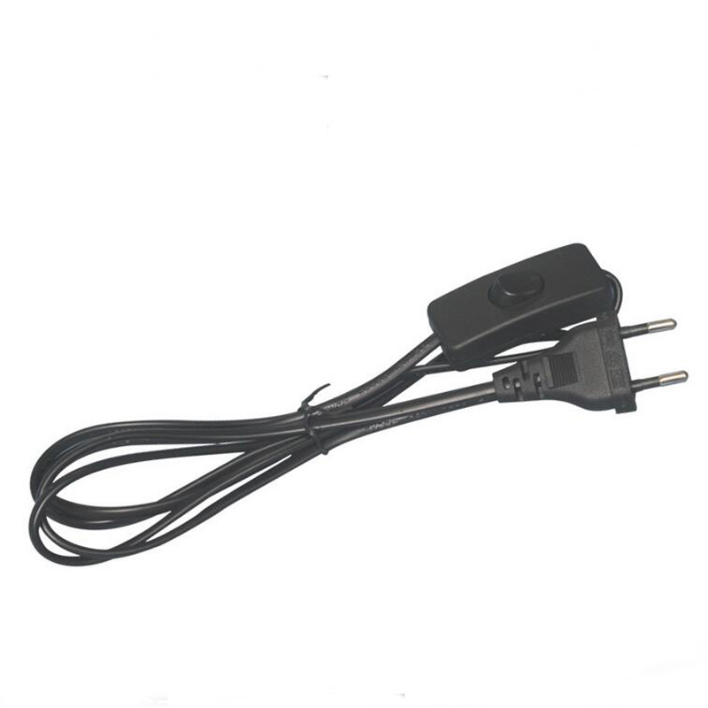 Europe standard power cord with switch black EU Two round plug power cable 1.5meter 10pcs(China (Mainland))
