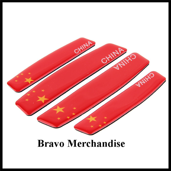 4pcs/lot automobile car doors anti-collision anti-scratch stickers with Chinese China flags logo badge emblem marks brands(China (Mainland))