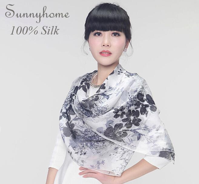 100% pure silk soft pashmina printed white black ink flower shawls and hijabs fashion high quality brand silk women long scarf(China (Mainland))