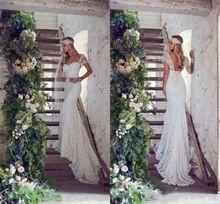 New Style Cap Sleeve Sheath Lace Romantic Vestidos De Novia Wedding Dresses 2015